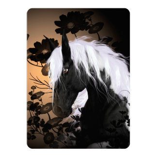Wonderful horse with flowers card