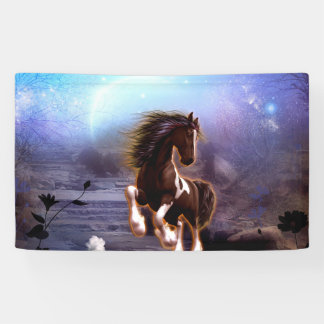 Wonderful horse with moon banner