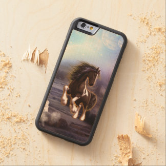 Wonderful horse with moon carved® maple iPhone 6 bumper case