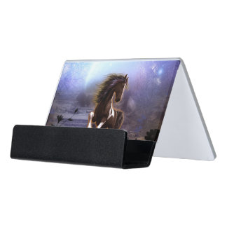 Wonderful horse with moon desk business card holder