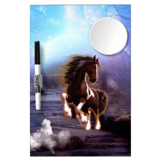 Wonderful horse with moon in the night dry erase board with mirror
