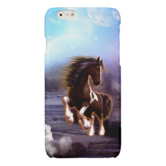 Wonderful horse with moon in the night glossy iPhone 6 case