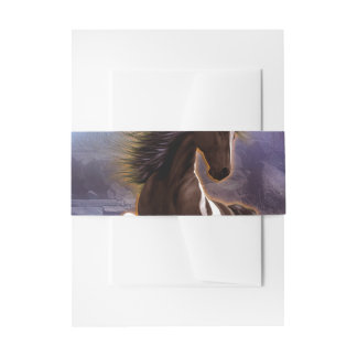 Wonderful horse with moon in the night invitation belly band