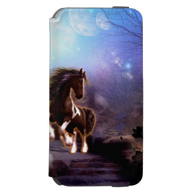 Wonderful horse with moon in the night iPhone 6/6S wallet case