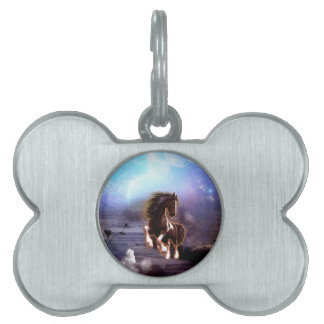 Wonderful horse with moon in the night pet ID tag