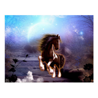 Wonderful horse with moon in the night postcard
