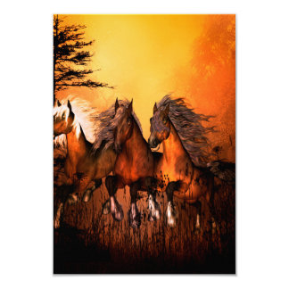 Wonderful horses running by a forest card