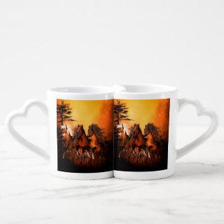 Wonderful horses running by a forest coffee mug set