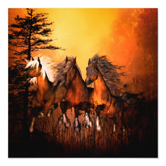Wonderful horses running by a forest magnetic card