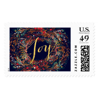 Wonderful JOY WREATH FLORAL Holiday Postage Stamps