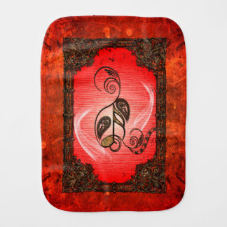 Wonderful key notes with floral elements in a fram baby burp cloth