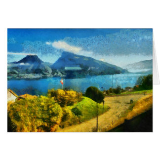 Wonderful lake landscape in Switzerland Card