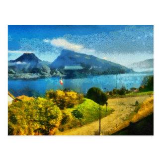 Wonderful lake landscape in Switzerland Postcard