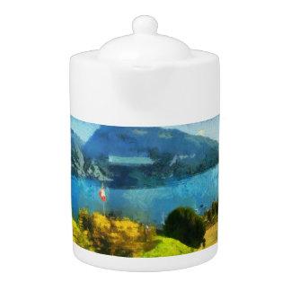 Wonderful lake landscape in Switzerland Teapot
