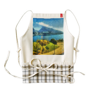 Wonderful lake landscape in Switzerland Zazzle HEART Apron