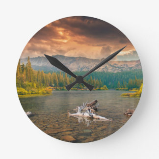 Wonderful lake round clock
