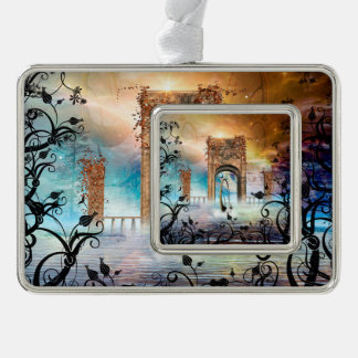 Wonderful lamp boat drives by a gate christmas ornament