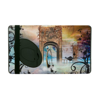 Wonderful lamp boat drives by a gate iPad case