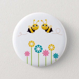 Wonderful little bees yellow pinback button