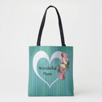 Wonderful Mom in Heart on Stripe Pattern Tote Bag