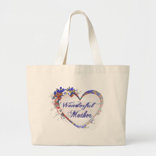 Wonderful Mother Floral Heart Large Tote Bag