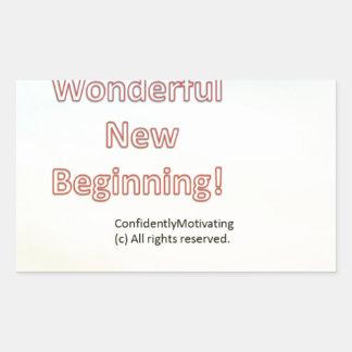 Wonderful new beginning rectangular sticker