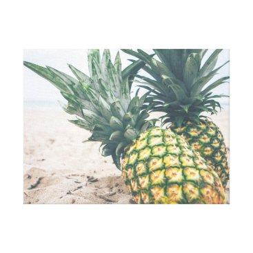 Beach Themed wonderful ocean sand and pineapples canvas print