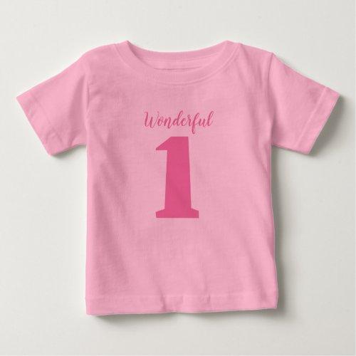 Wonderful One 1_year_old Girl Birthday Pink Baby T_Shirt