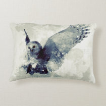 Wonderful owl in watercolor accent pillow