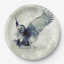 Wonderful owl in watercolor paper plate