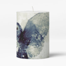 Wonderful owl in watercolor pillar candle