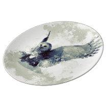 Wonderful owl in watercolor porcelain plate