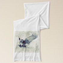Wonderful owl in watercolor scarf