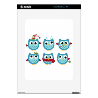 Wonderful owls blue on white iPad decal