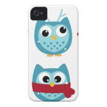 Wonderful owls blue on white iPhone 4 Case-Mate case