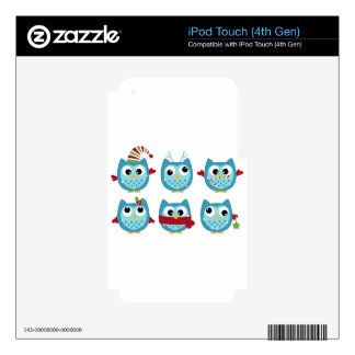Wonderful owls blue on white iPod touch 4G skins
