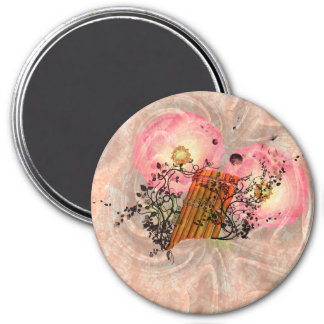 Wonderful pan flute with roses magnet