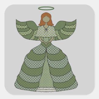 Wonderful Patchwork Angel Square Sticker