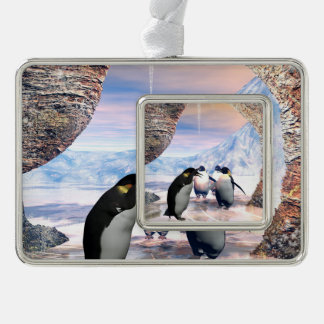 Wonderful penguin silver plated framed ornament