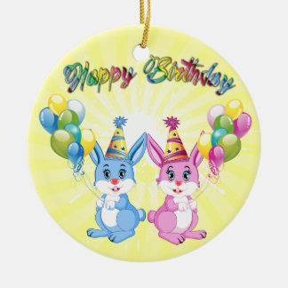 Wonderful Pink and Blue Bunnies Birthday Cartoon Ceramic Ornament