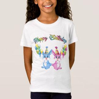 Wonderful Pink and Blue Bunnies Birthday Cartoon T-Shirt