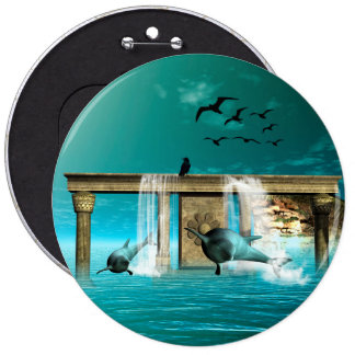 Wonderful playing dolphins in a fantasy world pinback button