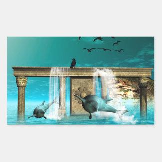 Wonderful playing dolphins in a fantasy world rectangular sticker