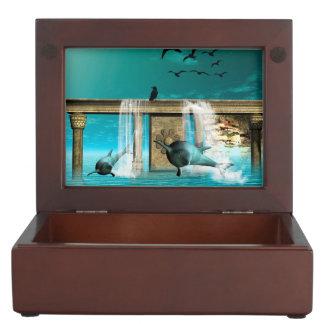 Wonderful playing dolphins memory box