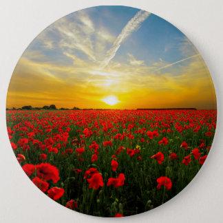 Wonderful Poppy Field Sunset Horizon Button