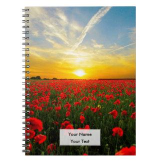 Wonderful Poppy Field Sunset Horizon Notebook