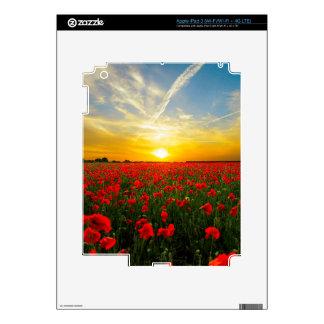 Wonderful Poppy Field Sunset Horizon Skin For iPad 3