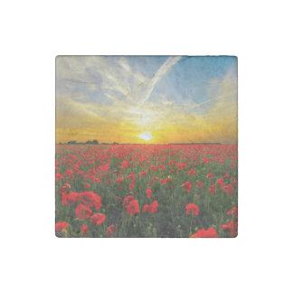 Wonderful Poppy Field Sunset Horizon Stone Magnet