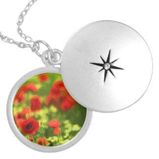 Wonderful poppy flowers VI - Wundervolle Mohnblume Locket Necklace