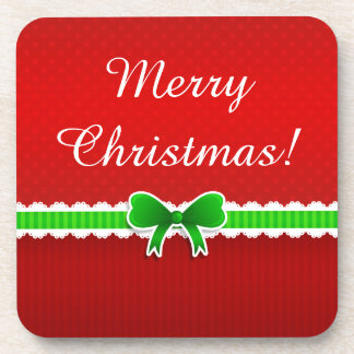 Wonderful Red Green Christmas Design Custom Text Coaster
